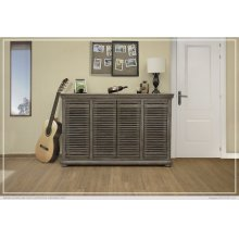 "67"" Console w/4 push doors, Mango wood, gray finish"