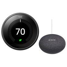 Thermostat Mirror With Google Mini Black