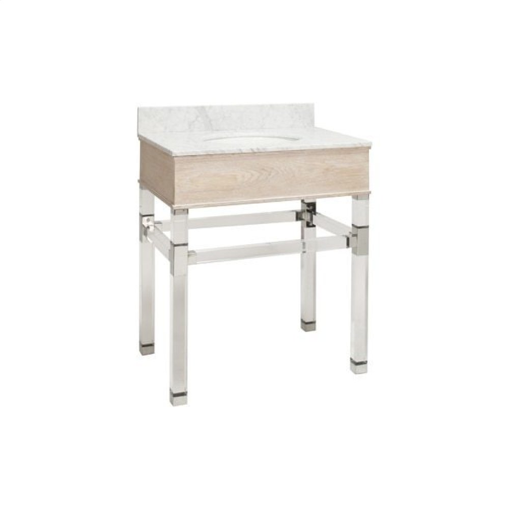 """Acrylic and Nickel Four Leg Bath Vanity With White Marble Top In Cerused Oak Features: - White Porcelain Sink Included - Optional White Carrara Marble Backsplash Included - for Use With 8"""" Wisespread Faucet (not Included)"""