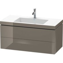 Furniture Washbasin C-bonded With Vanity Wall-mounted, Flannel Gray High Gloss Lacquer