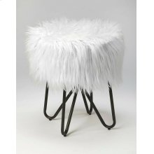 Tastefully textured and fashion forward, this faux fur stool is sure to make a statement in any space. Founded atop a hair pin leg, metal base, this piece features a round seat that's covered in faux fur upholstery for a hint of plush glamour. Rest your