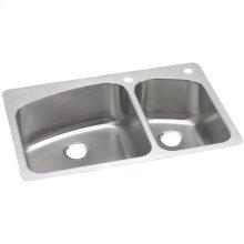 "Dayton Stainless Steel 33"" x 22"" x 8"", 60/40 Double Bowl Dual Mount Sink"