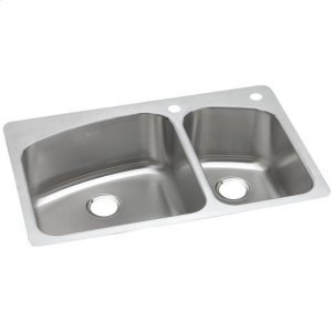 "Dayton Stainless Steel 33"" x 22"" x 8"", 60/40 Double Bowl Dual Mount Sink Product Image"