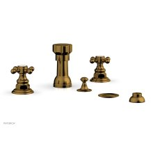 HENRI Four Hole Bidet Set - Cross Handles 161-60 - French Brass