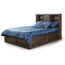Ranch House Queen Captains Bookcase Storage Bed