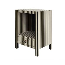One Drawer Side Table In Black and Off White Resin Stripe