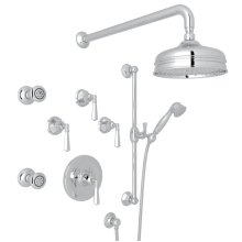 Polished Chrome Palladian Thermostatic Shower Package with Metal Lever