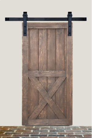 8' Barn Door Flat Track Hardware - Smooth Iron Basic Style Product Image