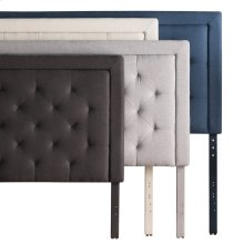 Rectangle Diamond Tufted Upholstered Headboard King/Cal King Charcoal