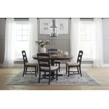 Castle Hill Round To Oval Dining Table With 4 Upholstered Chairs