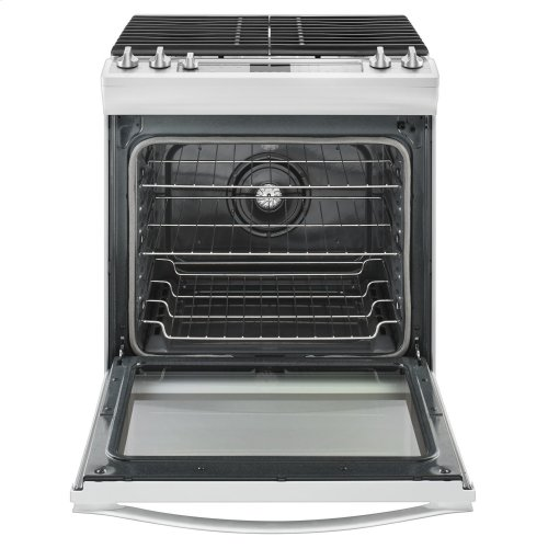 5.8 Cu. Ft. Slide-In Gas Range with EZ-2-Lift Hinged Grates White Ice