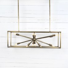 Antique Brass Finish Jaxon Rectangular Chandelier