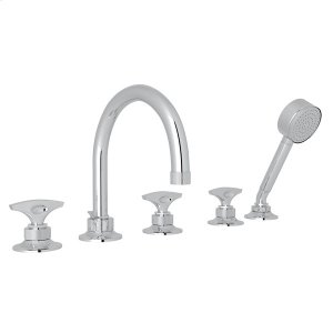 Polished Chrome Graceline 5-Hole Deck Mount Tub Filler with Metal Dial Handle Graceline Series Only Product Image