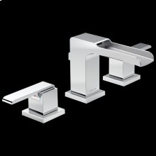 Chrome Two Handle Widespread Channel Bathroom Faucet
