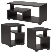3 Piece Coffee and End Table in Espresso Finish