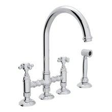 Polished Chrome Italian Kitchen San Julio Deck Mount C-Spout 3 Leg Bridge Kitchen Faucet With Sidespray with Cross Handle