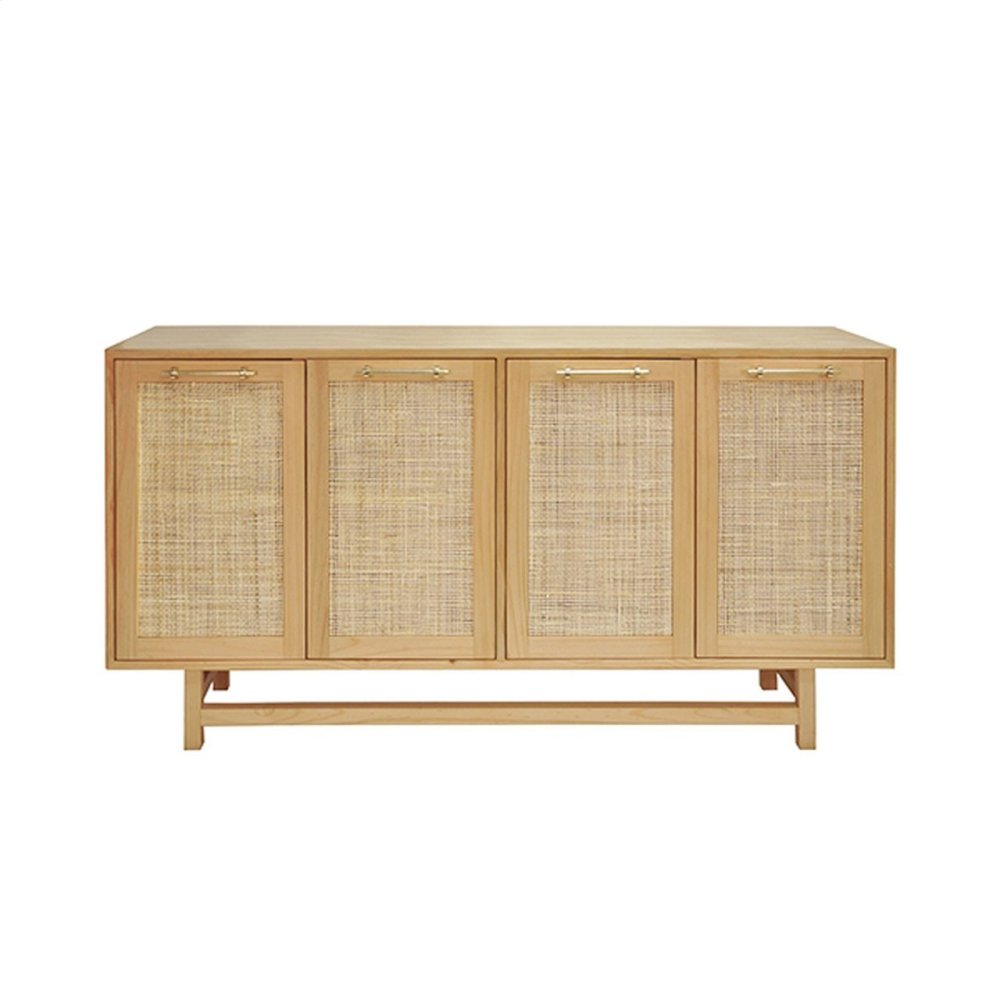 Four Door Cabinet With Cane Door Fronts and Brass Hardware In Pine