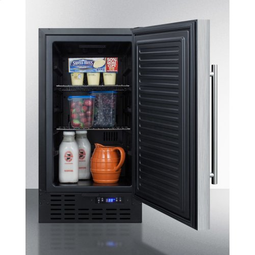 """18"""" Wide Built-in Undercounter All-refrigerator With A Stainless Steel Exterior, Digital Thermostat and Front Lock"""
