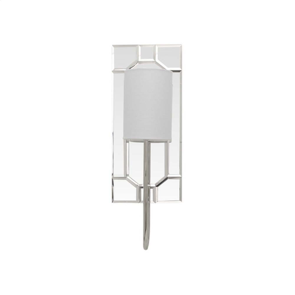 """Mirror Plate Sconce With White Linen Shade In Nickel - Uses (1) E12 40 Watt Candelabra Bulbs - Backplate 6.5"""" W X 15"""" H"""