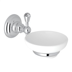 Polished Chrome Italian Bath Crystal Wall Mount Soap Dish Product Image