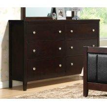Carlton Cappuccino Six-drawer Dresser