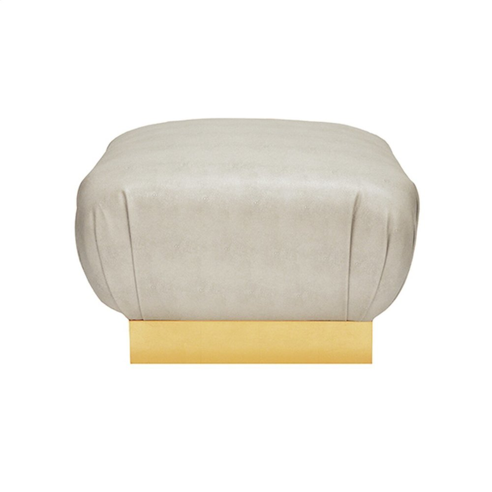 Faux Shagreen Beige Ottoman With Gold Leaf Base - Each Dye Lot May Vary Slightly In Color