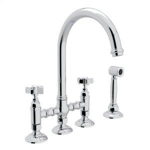 Polished Chrome Italian Kitchen San Julio Deck Mount C-Spout 3 Leg Bridge Kitchen Faucet With Sidespray with Five Spoke Handle Product Image