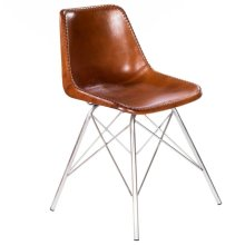 Mid-century modern with a contemporary twist: this go-everywhere molded chair form gets an upgrade with a stitched leather cover and sturdy silver iron frame. Think home office, dining room or dorm!