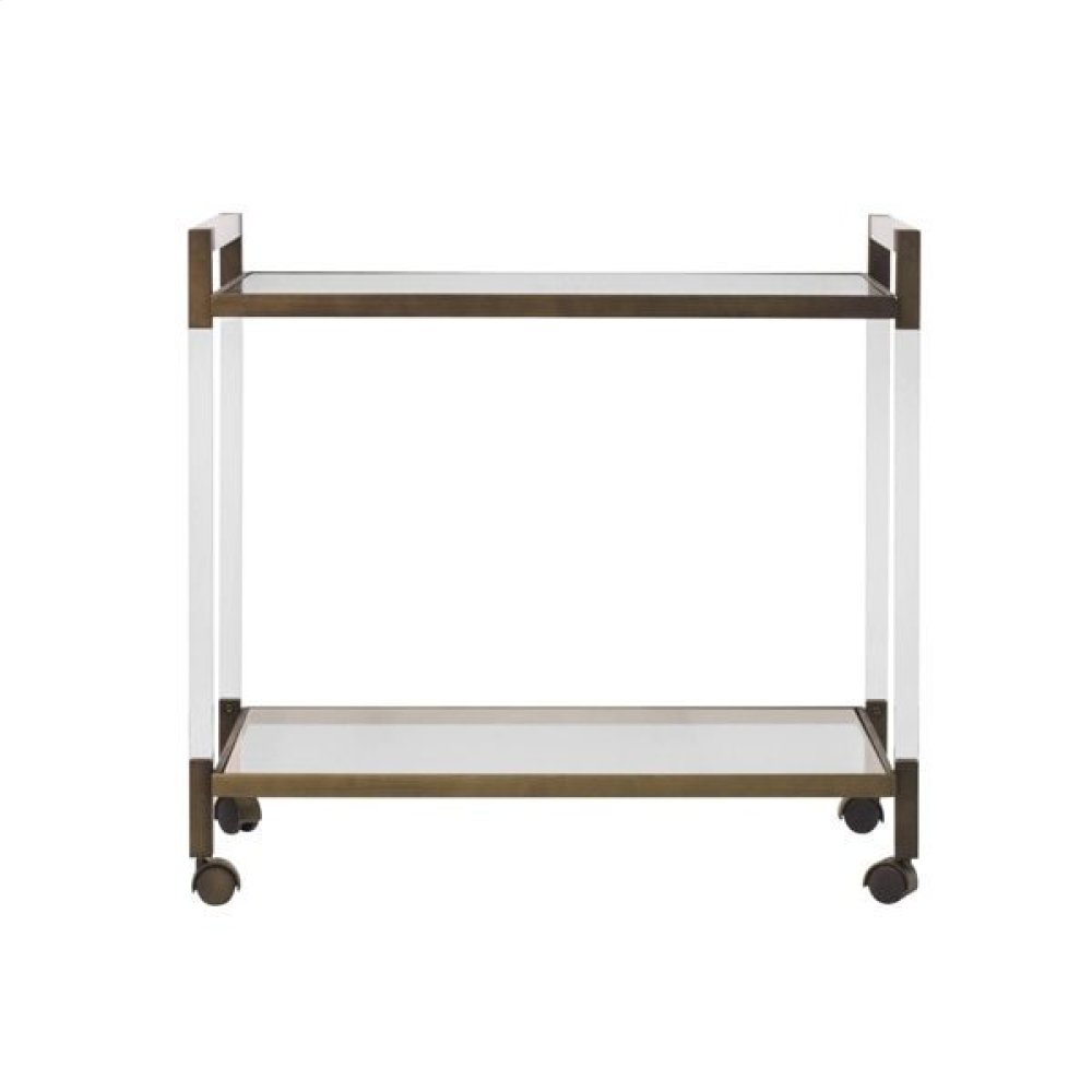 Acrylic Bar Cart With Painted Bronze Hardware