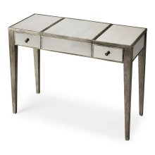 Trimmed in antique pewter and crafted from Birch Wood solids, this mirrored vanity is a beautiful touch of class in any space! The center lifts to reveal additional storage and a soft felt lining. The right and left drawers are a great place to tuck awa