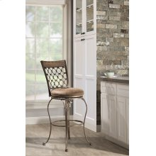 Lannis Swivel Bar Stool - Brushed Steel Metal With Distressed Brown/gray Finished Wood
