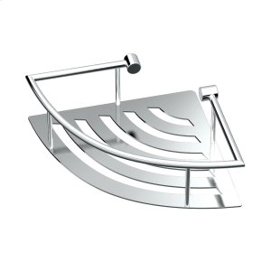 Elegant Corner Shelf with Rails in Chrome Product Image