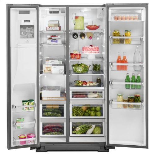22.7 Cu. Ft. Counter Depth Side-by-Side Refrigerator with Exterior Ice and Water Monochromatic Stainless Steel