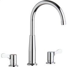 "Elkay 8"" Centerset Concealed Deck Mount Faucet with Gooseneck Spout and 2-5/8"" Lever Handles Chrome"