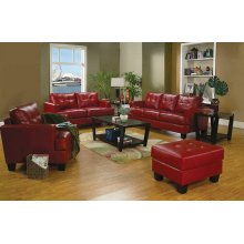 Samuel Transitional Red Ottoman