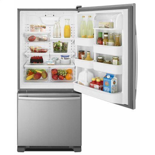 29-inch Wide Bottom-Freezer Refrigerator with EasyFreezer Pull-Out Drawer -- 18 cu. ft. Capacity - Stainless Steel