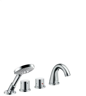 Chrome 4-hole rim mounted thermostatic bath mixer with zero handles Product Image