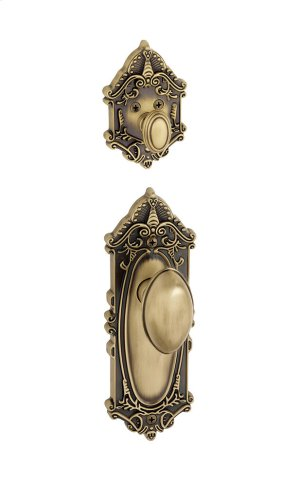 Grandeur - Single Cylinder Combo Pack Keyed Differently - Grande Victorian Plate with Eden Prairie Knob and Matching Deadbolt in Vintage Brass Product Image
