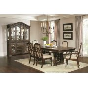 Ilana Traditional Antique Java Rectangular Formal Seven-piece Dining Table Set Product Image