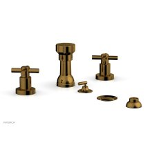 BASIC Four Hole Bidet Set - Tubular Cross Handles D4134 - French Brass