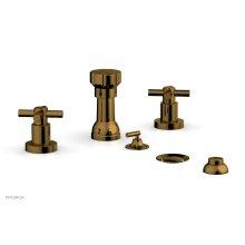 BASIC Four Hole Bidet Set - Tubular Cross Handles D4134 - French Brass