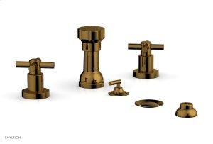 BASIC Four Hole Bidet Set - Tubular Cross Handles D4134 - French Brass Product Image