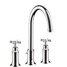 Chrome 3-hole basin mixer 180 with cross handles and pop-up waste set