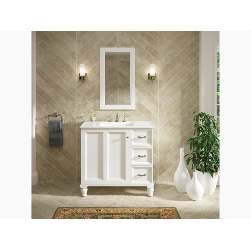 """Linen White 36"""" Bathroom Vanity Cabinet With Furniture Legs, 1 Door and 3 Drawers On Right"""