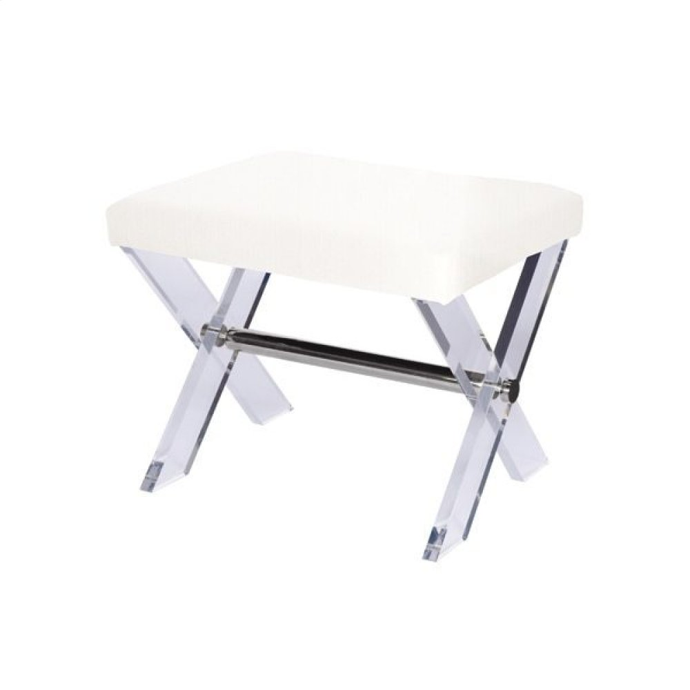 Lucite X Base Stool With Nickel Stretcher & White Linen Upholstered Cushion.