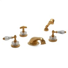 Antique Gold Cut Crystal Empire Lever Deck Mount Tub Set with Classical Hand Shower