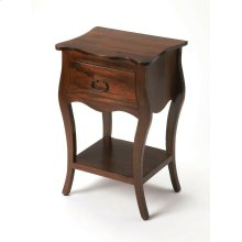 Crafted from Mango wood solids in an Antique Walnut finish; this night stand is perfect for stowing bedside essentials and flanking your master bed as a pair, this lovely nightstand showcases a single drawer, scalloped apron and lower display shelf.