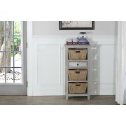 Tuscan Retreat® Basket Stand With Metal Front Drawer Three Baskets - Taupe Product Image