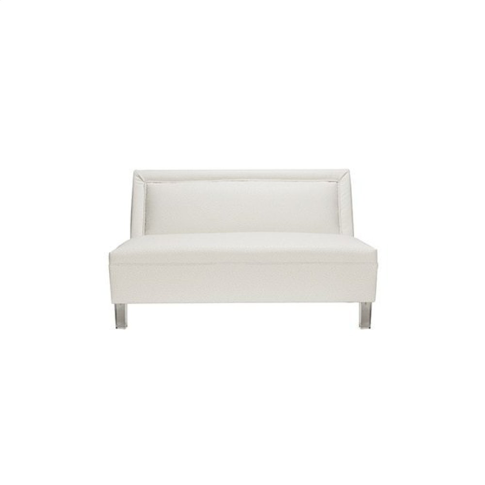 """Armless Settee With Acrylic Legs In White Ostrich Seat Height: 19.25"""""""