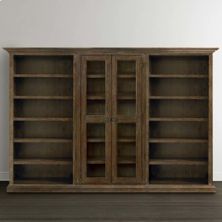 Emporium Smoked Oak Compass Tall Triple Storage Cabinet